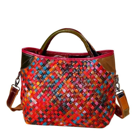 Tote bag Multicolor bright woven Genuine Leather Handmade Patchwork  Bag Women Knitting Bag Handbags Famous Brand Tote Bag Designer Handbag - zavitoro.myshopify.com