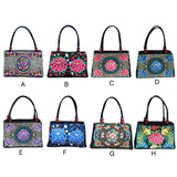 Satchel bag for Women Floral Ethnic Style Embroidered Fashion Handbag Canvas Shoulder Top-Handle Totes Outdoor Personality - zavitoro