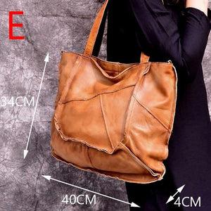 Tote bag Premium quality Hand oil polichedfemale large new cowhide leather Totes retro literary simple shoulder Lady women - zavitoro