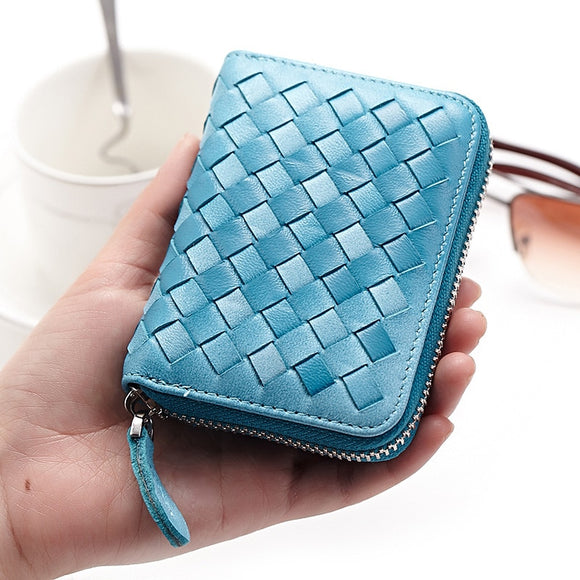 Card Holder Zipper Multi-card Wallets High-grade Real Leather Sheepskin Organ bags for Men Women Wholesale Woven Change Card Wallet Case - zavitoro.myshopify.com