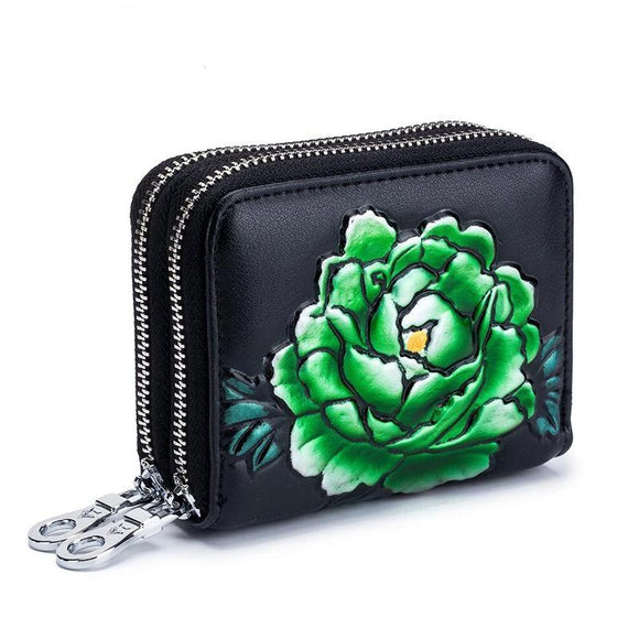 Short Wallet Rose Printing high quality 2019 RFID Blocking Card Holder Double Zippe Cards Coin Purse Women Credit Card Case - zavitoro.myshopify.com