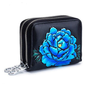 Short Wallet Rose Printing high quality 2019 RFID Blocking Card Holder Double Zippe Cards Coin Purse Women Credit Card Case - zavitoro