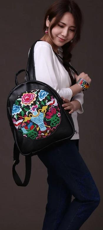 Backpacks First layer cowhide Genuine leather embroidered Women embroidery national wind female bag travel student backpack lady shoulder bag - zavitoro.myshopify.com