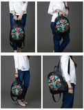 Backpacks First layer cowhide Genuine leather embroidered Women embroidery national wind female bag travel student backpack lady shoulder bag - zavitoro