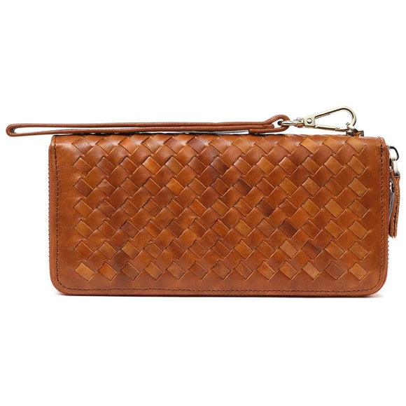 Knitted Long Wallet with handles in Genuine cowhide leather Men's Women's Zipper Purse Male Female Fashion Clutch Wallet Card Holder Coin Purse - zavitoro