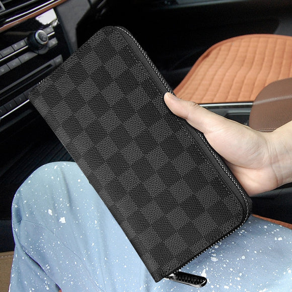 Luxury High-end Brand Long Wallet Men's Women's genuine cowhide first layer Leather Long Double Zipper Clutch Bag Fashion Wallet Casual Handbag Men and Women Wallet - zavitoro