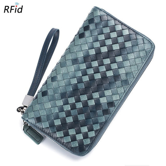 Long wallet with RFID Blocking Men Women Ladies Gents Casual Genuine Leather card Purse Credit Card Case Organizer passport Knitting Women Wallet 36 Card Holder - zavitoro