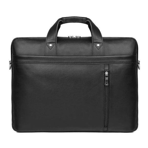 Black genuine leather 15.6'' Laptop Office business briefcase