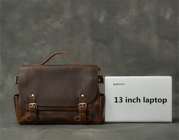 Business briefcase in crazy horse high quality genuine leather - zavitoro