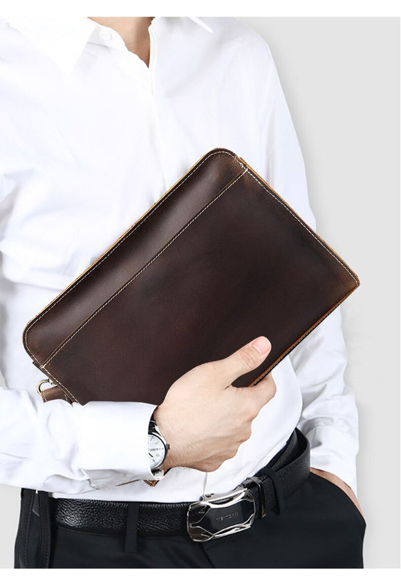 Men cluth bag Genuine Crazy Horse Leather ipad document Top Grade Portfolio Laptop office handbag - zavitoro