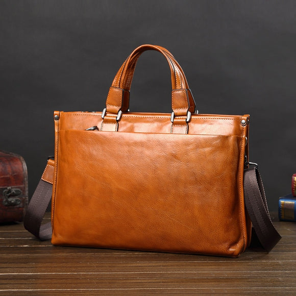 Veg oil tanned high quality genuine leather slick soft business briefcase