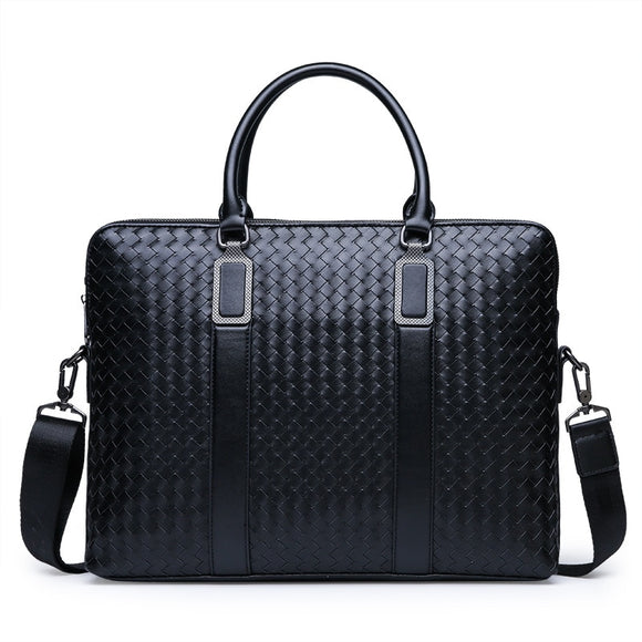 Woven Male Handbag Shoulder briefcase genuine leather high quality