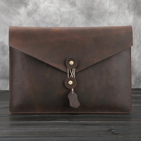Crazy Horse Man Genuine Leather IPad Pro 12.9 Inch Cowhide Men Bags File Package Envelope Bag A4 Papers IPad Bag - zavitoro