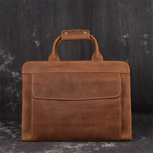 Genuine Crazy Horse Leather Men Portfolio Office High Quality Vintage Brown A4 Business Messenger Bags - zavitoro