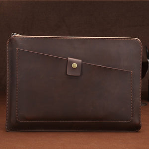 Genuine Leather Briefcase Business Bags Brown Yellow With Zipper