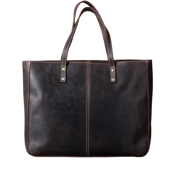 Business tote bag in crazy horse genuine leather Unisex