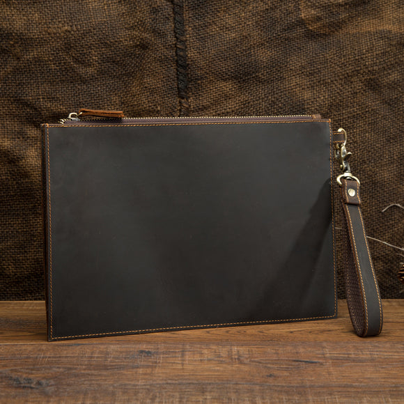 Crazy Horse Real Genuine Leather Men Envelope Clutch