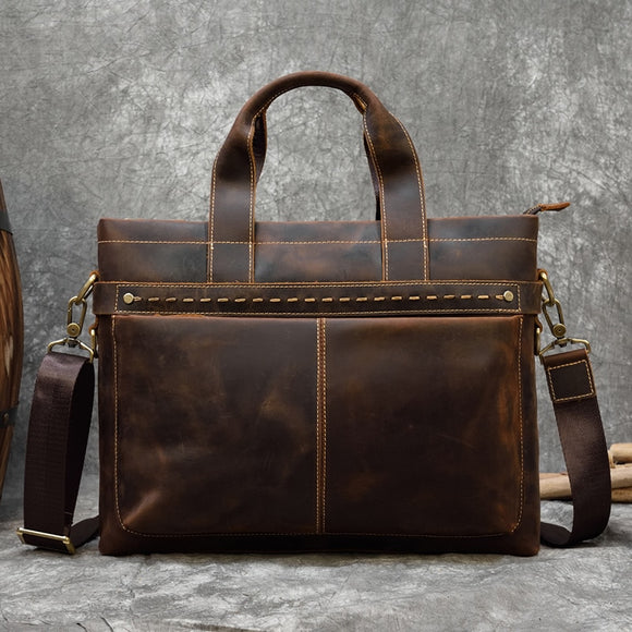 Vintage Mens Genuine Leather briefcase Cowhide Business laptop bag - zavitoro