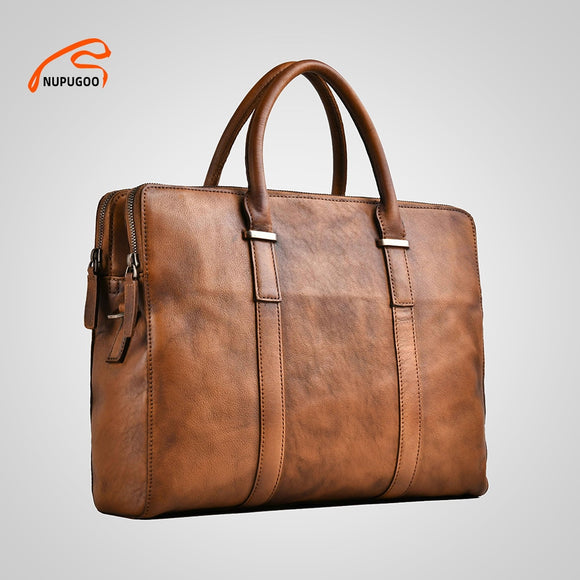 Genuine leather high quality brown 13 inch slim notebook work bag