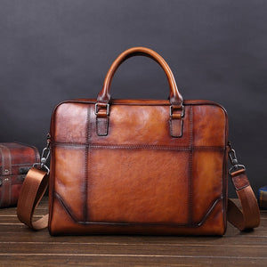 Business Computer Bag Men Briefcase genuine leather Cowhide top quality 14 inch - zavitoro
