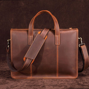 Retro office business briefcase genuine leather laptop work bag