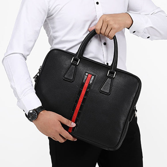 Top quality Men Women genuine leather Red strip black 14 inch laptop business bag