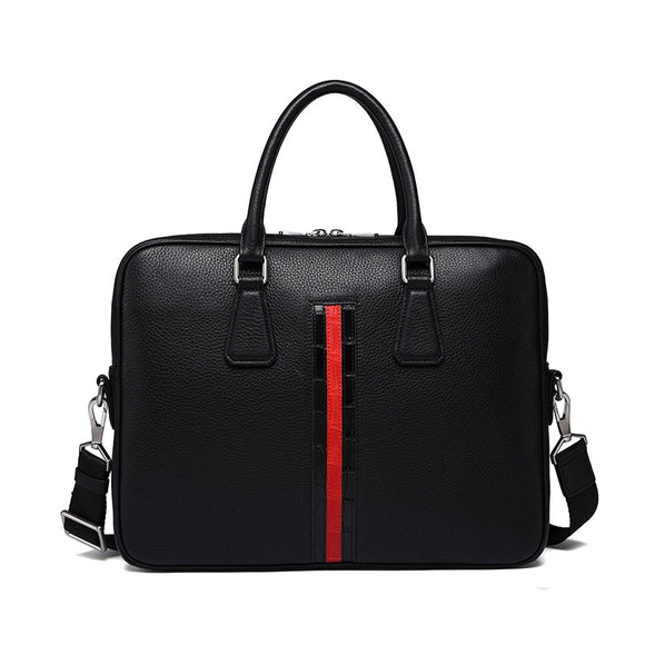 Men Women genuine leather Red strip black 14 inch laptop business Work bag