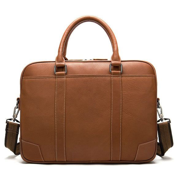 High quality genuine leather brown 15 inch laptop bag business briefcase