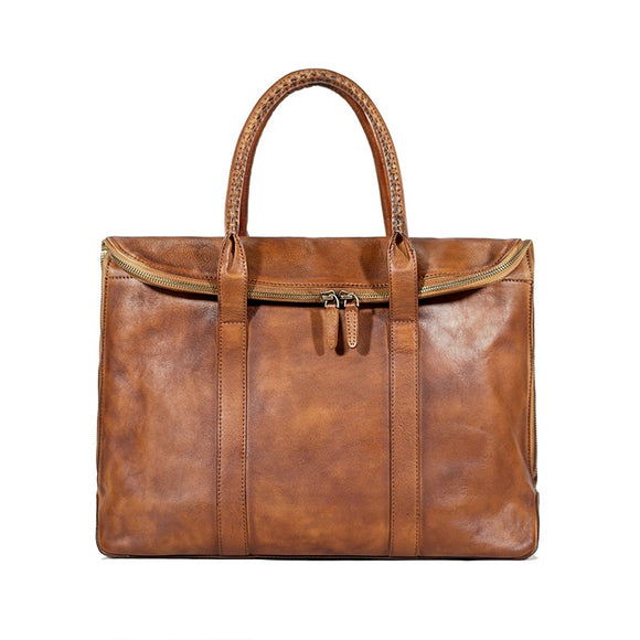 Genuine leather high quality brown Tote slim notebook work bag