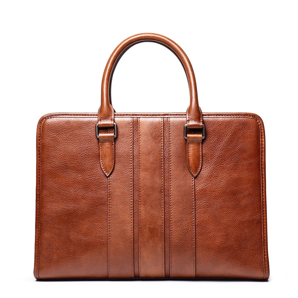 Genuine leather high quality brown 14 inch slim notebook work bag