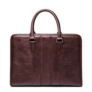 Genuine leather high quality brown 14 inch slim notebook work bag - zavitoro