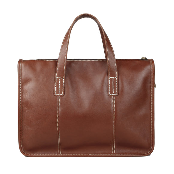 Genuine leather high quality veg tanned business office crossbody briefcase - zavitoro