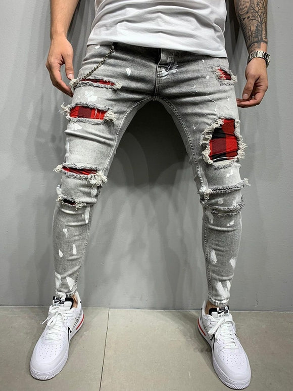 Ripped patch gray jeans for Men - zavitoro