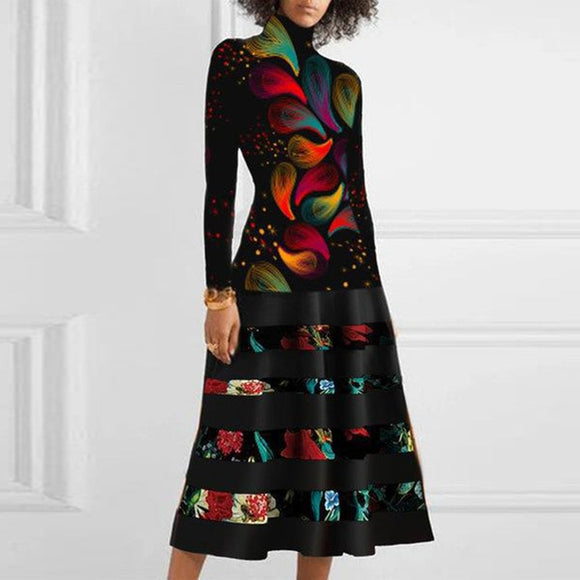 Winter Turtleneck Patchwork Women Midi Dress - zavitoro