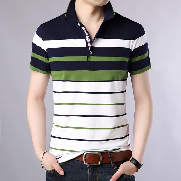 Men Classic Striped Cotton Polo Shirt - zavitoro