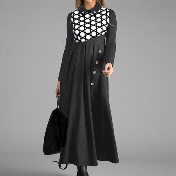 Polka Dot Print Long Dress For Women - zavitoro