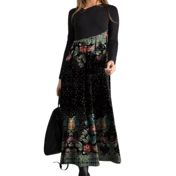 Digital Print Flower Patchwork Large Hem Maxi Dress - zavitoro