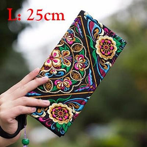 Ethnic Flowers Embroidery Embroidered Wallet Purse Handmade  Women Long Wallet Famous Evening Day Clutch - zavitoro