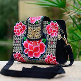 Satchel bag Ethnic Embroidered Canvas Cover Shoulder Messenger Bags Handmade Handbag for Women Multicolor Embroidery - zavitoro
