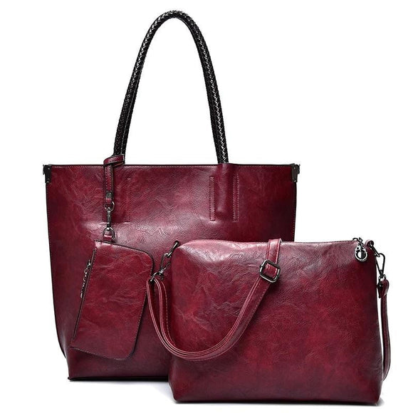 Oil pullup Tote bag with 3 Sets Women genuine cowhide Leather Handbags Luxury Solid Color Ladies Composite Tote Shoulder Bag with Clutch Bags Purse Wallet For Women - zavitoro.myshopify.com
