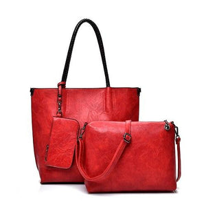 Oil pullup Tote bag with 3 Sets Women genuine cowhide Leather Handbags Luxury Solid Color Ladies Composite Tote Shoulder Bag with Clutch Bags Purse Wallet For Women - zavitoro