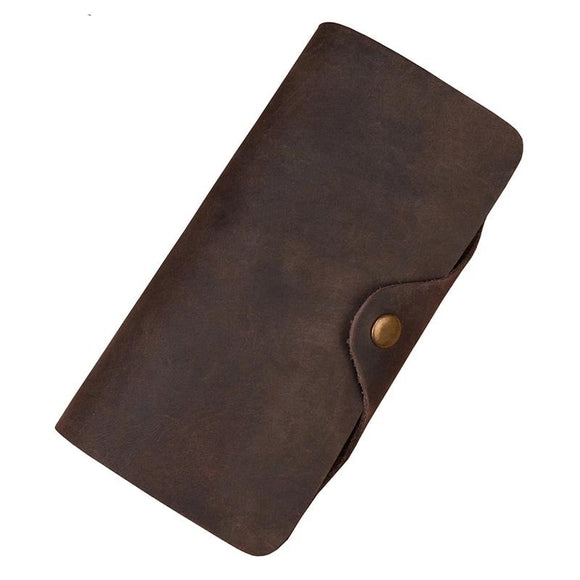 Long Wallet Brown Real leather Trifold clutch snap purse Hasp purse with Phone pocket and coin pocket Men's Crazy Horse Leather - zavitoro