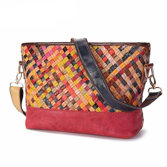 Patchwork Weaving Casual Crossbody Bags Design Genuine Leather Shoulder Bag Women  Ladies Knitting Messenger - zavitoro.myshopify.com