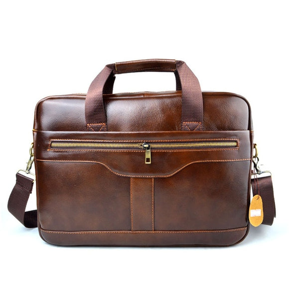 Briefcase laptop bag Genuine Leather Bag Men Bag Cowhide Men Crossbody Bags Men's Travel Shoulder Bags Tote Laptop Briefcases Handbags brown - zavitoro