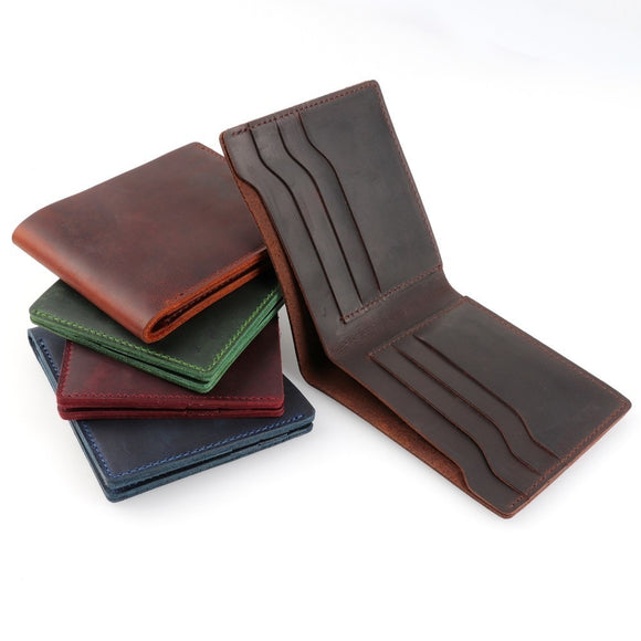 Wallets for Men 100% Genuine Leather Wallets Bifold Purse Vintage Crazy Horse Leather Clutch Men wallets Retro Coin Pocket men wallets - zavitoro.myshopify.com