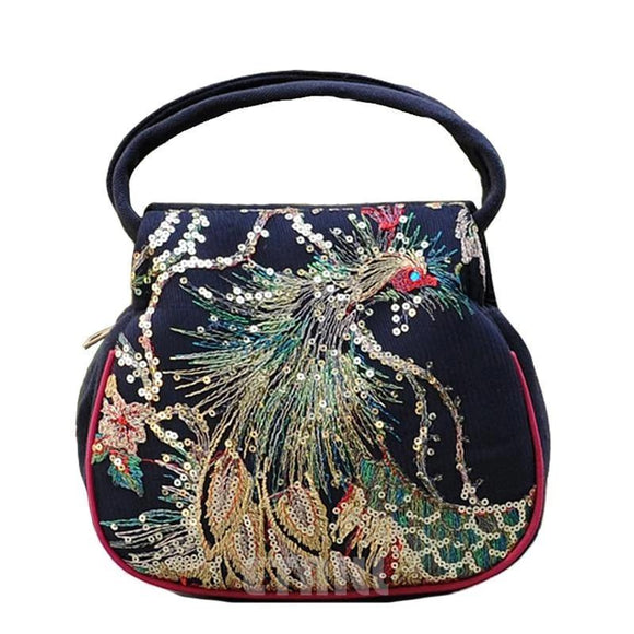 Satchel handbag Sequins Ethnic Embroidery Bags Lady Flap Messenger Bag Phoenix Embroidered Small Tote Bag Golden - zavitoro