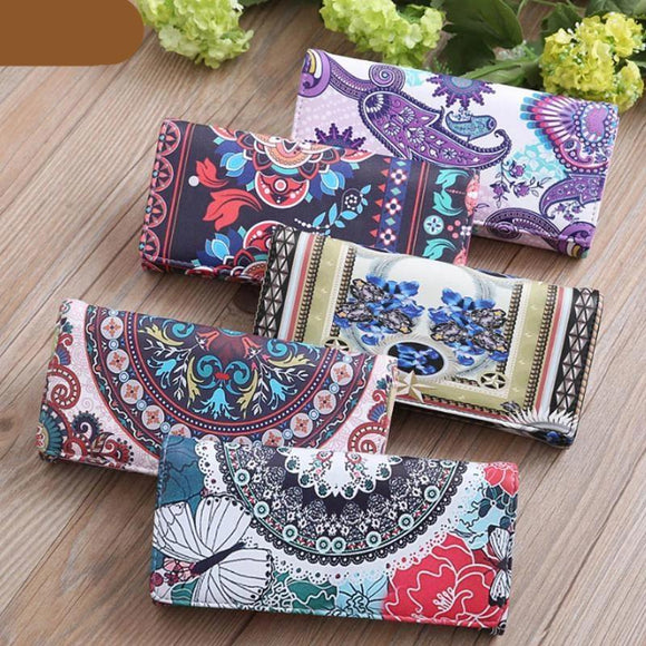 Long Wallet Graffiti Printed Women and Girls Vintage Mini Clutch Phone Card holder Money slot Multi-Color Casual Ladies Purse - zavitoro.myshopify.com