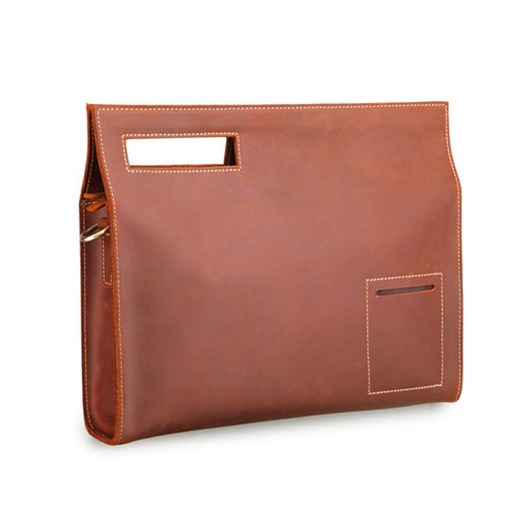 Genuine leather laptop ipad file work bag Unisex