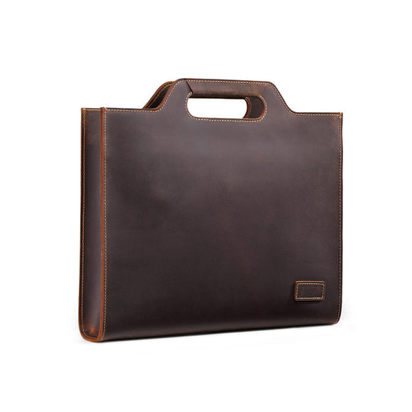 Genuine Leather Men's business laptop briefcase handbags - zavitoro