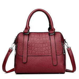 Crocodile pattern satchel handbag for women Shell Genuine Leather Luxury Handbags Ladies bags designer Casual shoulder Bags for girls - zavitoro